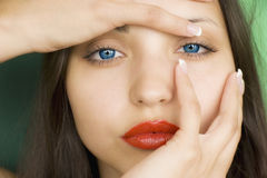 Beautiful brunette girl with  red lips Royalty Free Stock Image