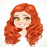Beautiful brunette  girl with red long curly hair portrait Royalty Free Stock Image