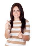 Beautiful brunette girl saying Ok Stock Images
