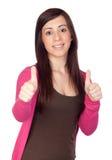 Beautiful brunette girl saying Ok Royalty Free Stock Images