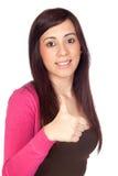 Beautiful brunette girl saying Ok Royalty Free Stock Photos