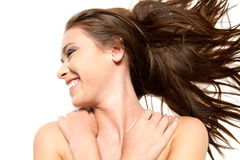 Beautiful brunette girl smiling Stock Photo