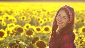 Beautiful brunette girl smiling in sunflower field stock video