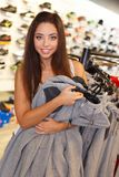 Beautiful  brunette girl in a sport outlet Stock Images