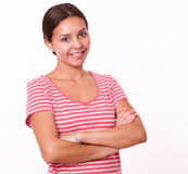 Beautiful brunette girl standing with crossed arms Royalty Free Stock Photo