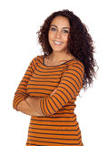 Beautiful brunette girl with striped shirt Stock Photos