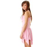 Beautiful brunette girl in sweet pink. Stock Photos