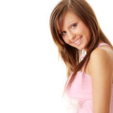 Beautiful brunette girl in sweet pink. Isolated on white background stock photo