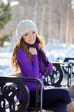 Beautiful brunette girl on a walk in winter Royalty Free Stock Photos