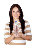 Beautiful brunette girl with water bottle Stock Photography