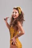 Beautiful brunette girl wearing bikini Royalty Free Stock Photo