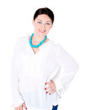 Beautiful brunette girl on white background bright smile Stock Image
