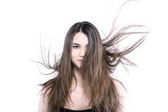 Beautiful brunette girl with windy hair Royalty Free Stock Photos