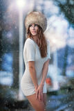 Beautiful brunette girl in winter clothes outdoor Royalty Free Stock Photo
