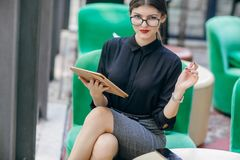 Beautiful brunette with glasses Stock Photography