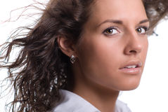 Beautiful brunette with gorgeous curly hair Royalty Free Stock Image