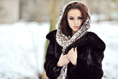 Beautiful brunette with gorgeous curly hair Stock Photography