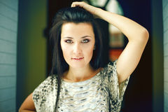Beautiful brunette with gorgeous hair Stock Photos