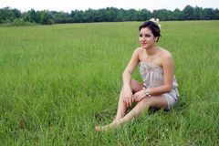 Beautiful Brunette in a Grassy Field  Stock Photography