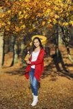 Beautiful brunette guitar player girl in the forest Royalty Free Stock Image