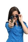 Beautiful Brunette with a Handgun Stock Photos