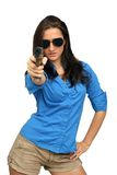 Beautiful Brunette with a Handgun Royalty Free Stock Photo