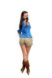 Beautiful Brunette with a Handgun Royalty Free Stock Photos