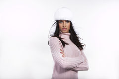 Beautiful brunette with hat  Royalty Free Stock Photo