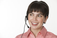 Beautiful Brunette with Headset Royalty Free Stock Photos