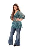 Beautiful brunette in hippy jeans Royalty Free Stock Images