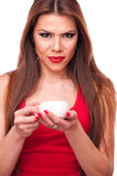 Woman holding cup Stock Photo