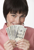 Beautiful Brunette Holding Money Stock Images
