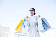 Beautiful brunette holding shopping bags Stock Images