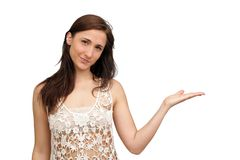 Beautiful Brunette Hostess Royalty Free Stock Photo