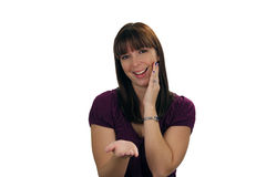 Beautiful Brunette Hostess (3) Royalty Free Stock Image