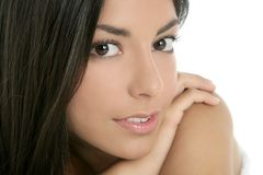Beautiful brunette indian woman closeup portrait Stock Images