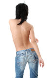 Beautiful brunette in jeans topless Royalty Free Stock Photo