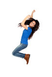Beautiful brunette jumping Royalty Free Stock Images