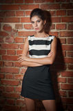 Beautiful brunette lady in black and white short dress Stock Photos