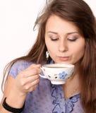 Beautiful brunette lady drinking coffee. Beautiful brunette lady drinking bracing coffee Stock Photo