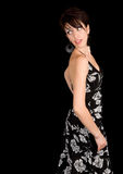 Beautiful Brunette Lady Looking Back Stock Images