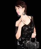 Beautiful Brunette Lady Posing in a Black Dress Royalty Free Stock Photography