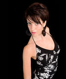 Beautiful Brunette Lady Posing in a Black Dress Stock Images