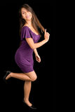 Beautiful Brunette Lady Posing in a Purple Dress Stock Photos