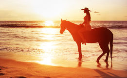 Beautiful brunette lady riding a horse and watching a sunset Stock Images