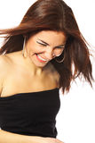 Beautiful brunette laughs Royalty Free Stock Images