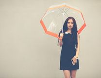 Beautiful brunette with long hair in a short black dress standing under a transparent umbrella. Colorful hipster photo Royalty Free Stock Photos