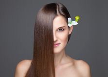 Beautiful brunette with long straight hair Royalty Free Stock Photos