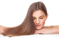 Beautiful brunette with long straight hair Stock Photography