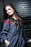 Beautiful Brunette Mechanic Royalty Free Stock Photography